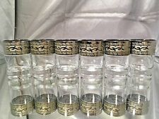 Crystal Glass Set of 6 Vodka  Whisky Shot Glass 2 oz Platinum Greek  Key Design