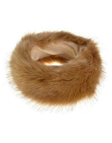 WOMENS FAUX FUR FABRIC WINTER HEADBAND SKI EAR WARMER PULL-ON STYLE 10 COLOURS