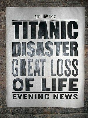 "VINTAGE REPRINT ADVERT TITANIC SINKS AFTER HITTING ICEBERG POSTER 11/""x14/"" 293L"