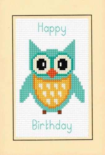 "Cross Stitch A6 Card Kit 4/"" x 6/"" Aqua//Turquoise Cartoon Owl Happy Birthday"