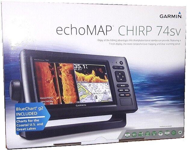 Garmin ECHOMAP CHIRP 74sv ClearVu SideVu + US Bluechart & Lakes - NO  TRANSDUCER