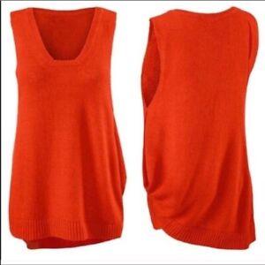 Cabi-Womens-Sweater-Vest-Siren-Orange-Size-M-Sleeveless-Asymmetric-Cotton-Linen