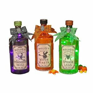 """8.5""""  Lighted Crackle Glass Halloween Witches Potion Bottles Decoration Prop Set"""