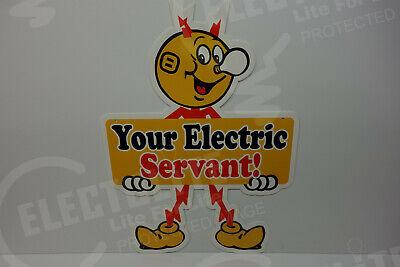 Reddy Kilowatt Power HAVE A GARDEN DIE CUT ENAMEL COAT ELECTRICIAN GIFT SIGN