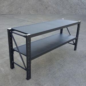 Matte-Black-Metal-Warehouse-Workbench-Shelving-Rack-Work-Bench-Stand-Workbenches