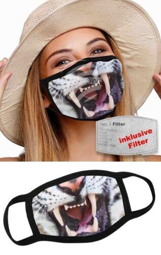 Gesichtsschutz aus Stoff mit wechselbarem Filter weiche Ohrschlaufen Tiger