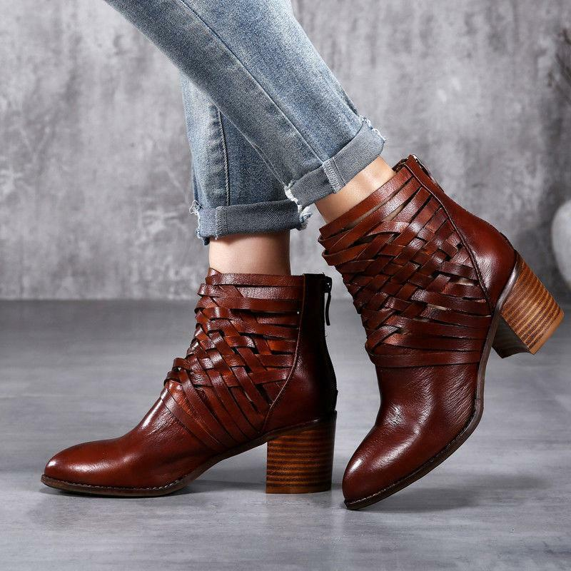 Ladies Real Leather Hollow Out British Vintage Chunky Heels Ankle Boots shoes Sz