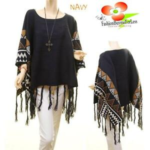 Western-TX-Cowgirl-Navy-Wool-Knit-Poncho-Fringed-Pullover-Oversized-Sweater-Top