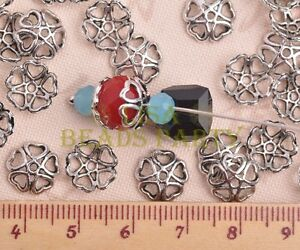 100pcs-10mm-Tibetan-Silver-Bead-Caps-Charms-Heart-Spacer-Beads-Jewelry-Findings