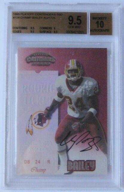 1999 Contenders Champ Bailey Rookie Ticket Auto BGS 9.5 / 10 Redskins SP