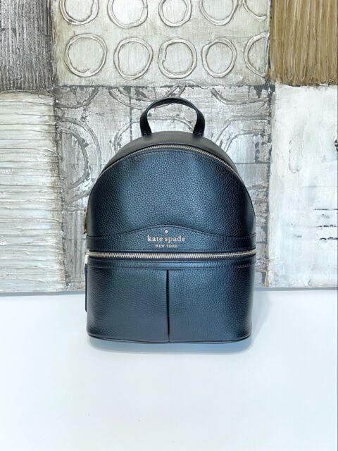 ❇️NWT Kate Spade Karina Medium Pebbled Leather Backpack Black Bag Zipper