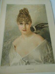 Gravure 1889 - La Charmeuse Jeunne Femme Dans La Douleur
