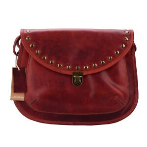 0154ccc9a30b Image is loading MANDAVA-Handmade-Vintage-Genuine-RED-Leather-Women-s-