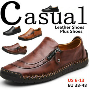 Men-039-s-Leather-Casual-Shoes-Breathable-Antiskid-Slip-on-Zipper-Loafers-Moccasins