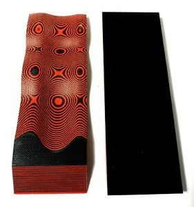 2-BLACK-RED-LAYERED-250-034-G-10-KNIFE-HANDLE-MATERIAL-SCALES-6-034-x-2-034-G10