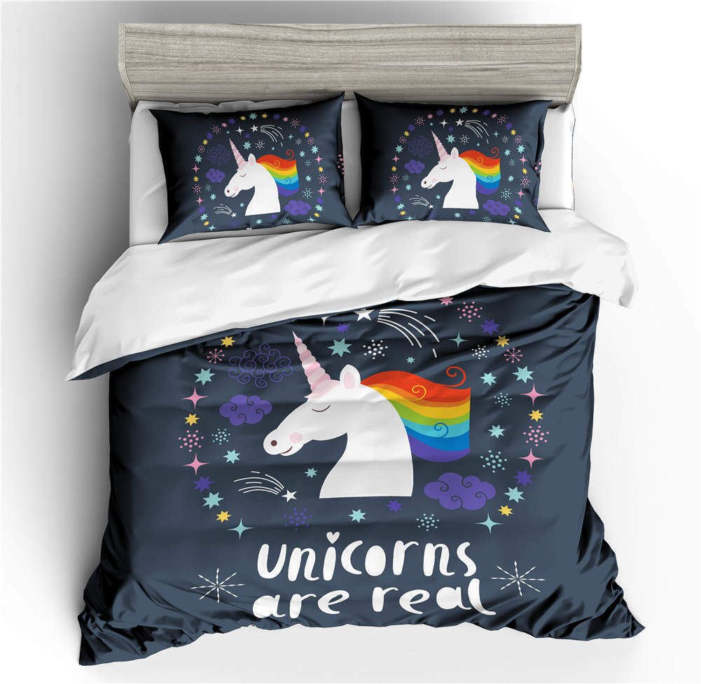 Ring Star Unicorn 3D Druckening Duvet Quilt Will Startseites Pillow Case Bettding Sets