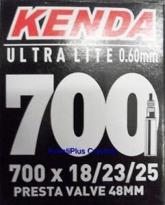 1x Kenda 700c PRESTA Ultra Lite Light Road Tube 700x18/23/25 F/V 48mm Valve 65g