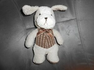 "8"" PLUSH tan terry cloth cream brown striped vest bow lovey soft dog puppy"
