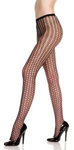 Black-Honeycomb-Design-Pantyhose-Nylon-Spandex-Tights-One-Size-Music-Legs-9040