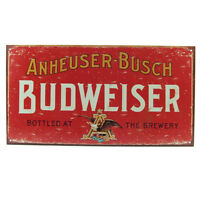 Budweiser Weathered Tin Bar Sign - Pub Branded Beer Wall Drinking Decor Display