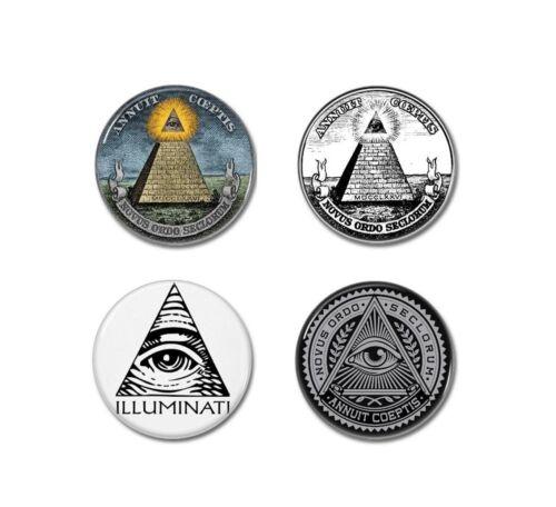 badges, pins, dan brown, new world order, conspiracy 4 X ILLUMINATI buttons