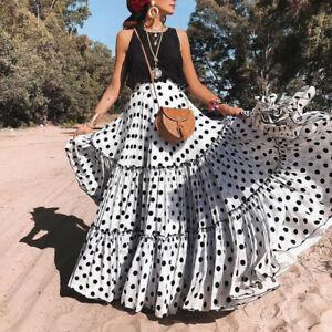 Women Polka Dot Skirt Long Pleated High Waist Plus Size Causal Summer Skirt UK