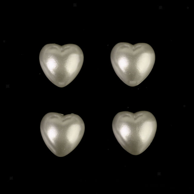 40pcs Self Adhesive 14mm Stick on Acrylic Textured PEARL Heart Topper Gems CRAFT