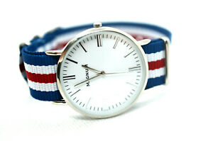 Magnum-Unisex-Uhr-mit-Natoband-Blau-Weiss-Rot