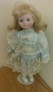 Antique-Vintage-Porcelain-Blonde-Doll-with-Stand-16-034-Tall