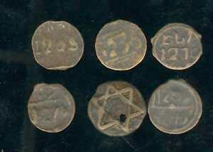 Marruecos 6 Monedas Antiguo Arnejsek, Años Varios, En Détemriner + Precisamente