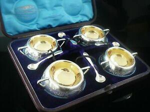 Wonderful-Cased-Antique-Silver-Plated-Salt-Cellars-c-1875-Super-Quality