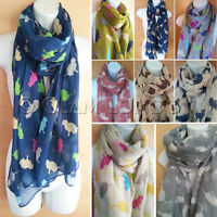 Cat Print Scarf Ladies Scarves Pussy Cats Fashion New Long Shawl Animal Wrap