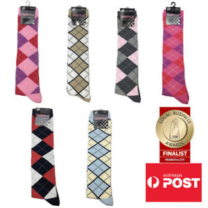 8a92258dc2e Women s Argyle Diamond Pattern Knee High Socks SINGLE PAIR  NEW ...