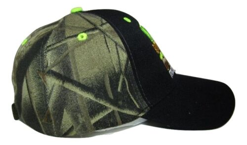 Born to Fish Forced Work Neon Green Black Face Camo Embroidered Cap CAP926A Hat