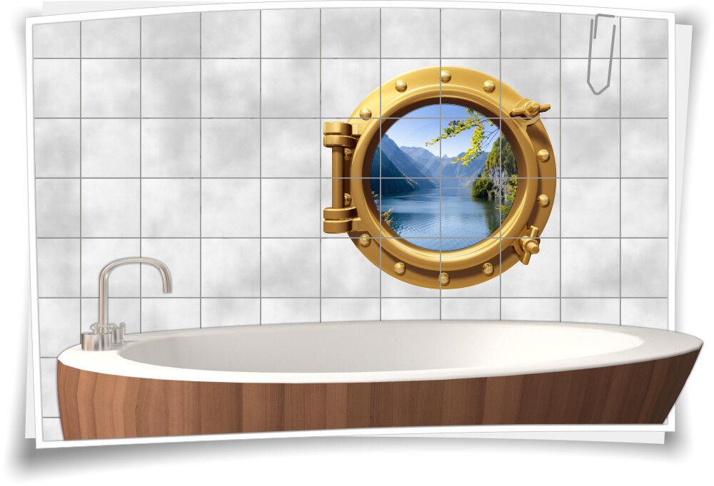 Fliesenaufkleber Fliesenbild Fliesen Bullauge Wasser See Berge Aufkleber Bad