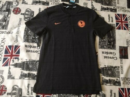 New Nike Club America Grand Slam Polo Shirt Soccer Jersey Black-Crimson Sizes