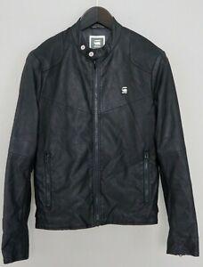 Men-G-Star-Faux-Leather-Jacket-Black-Biker-Style-S-ZLA204