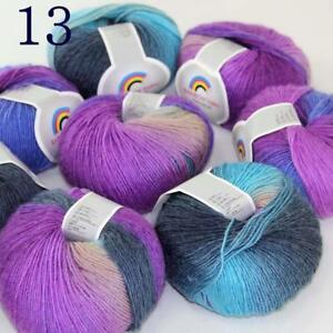 Sale-Soft-Cashmere-Wool-Colorful-Rainbow-Wrap-Shawl-DIY-Hand-Knit-Yarn-50grx8-13