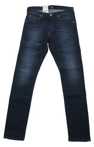 Mens Lee Luke Slim Fit Tapered Fit Fashion Jeans GCBY Dark Blue Faded Denim