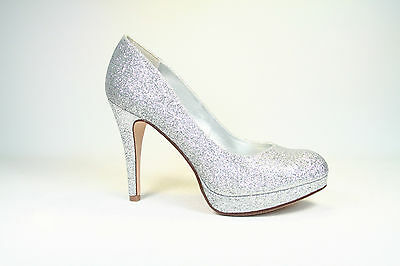 Round Toe  Patent Glitter Stiletto High Heel Platform Pump Shoes Size 5.5 - 10