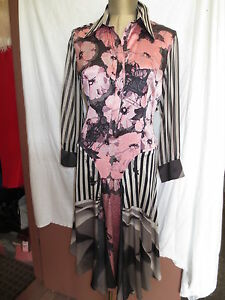 New-NWT-Cavalli-silk-chiffon-pink-flowers-black-silver-stripes-985-dress-sz-42