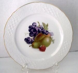 Bavaria-E-amp-R-Orchard-Golden-Crown-Plate-Grapes-Pear-Strawberry-4-Germany-Salad