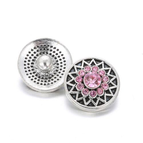 10pcs 12 mm METAL Snap strass tournesol boutons pressions Fit Snap Bracelet Pendentif