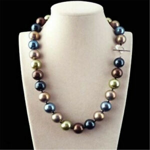 Huge-12mm-Multicolor-Round-South-Sea-Shell-Pearl-Necklace-18-039-039-Real-Women