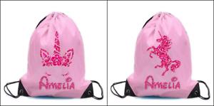 PERSONALISED UNICORN Drawstring bag PE dance boys girls kids swim gym school
