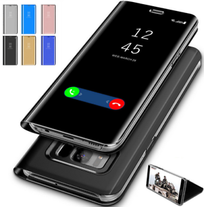 Case-For-Samsung-Galaxy-S7-S8-S9-S10-Smart-View-Mirror-Wallet-Flip-Stand-Cover