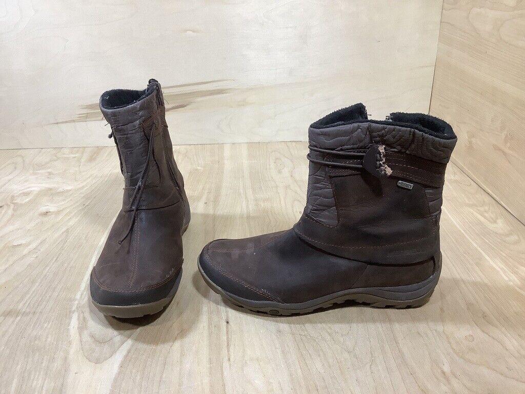 Merrell Dewbrook Boots Size 8 Women's Winter Snow Zip Waterproof Insulated Brown