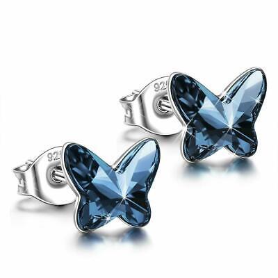 Neuves Boucles d/'oreilles Papillon en ARGENT 925 et Cristal