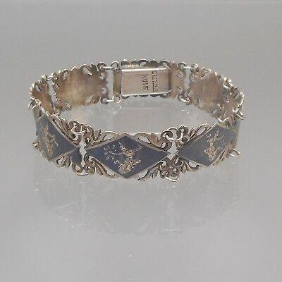 """Streling Silver Bracelet Black Dancer Thailand Vintage Made By  Globe 7/"""""""