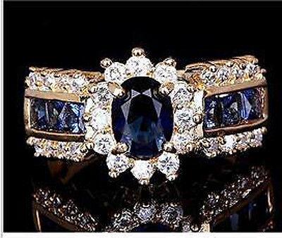 SZ6-12 Men's fashion 18k yellow gold filled Sapphire white zircon Wedding Ring